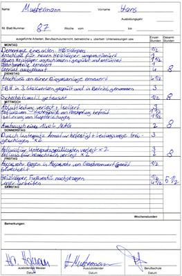 Berichtsheft shk Fachbericht Vorlage
